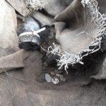 Scheiding grind en zwarte grond met anti worteldoek